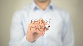 Request a Quote, man writing on transparent screen Stock Image