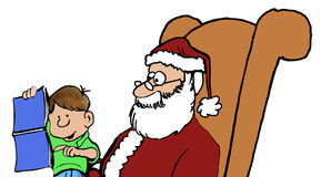Request for Santa. Color Christmas illustration of little boy sitting on Santa Claus' lap and pointing to magazine centerfold Stock Images