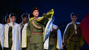 """Request for war determination-Peking Opera """"Taking Tiger Montain By Strategy"""" Stock Images"""