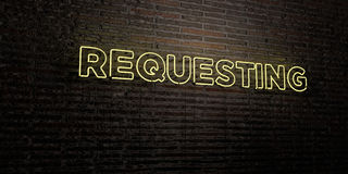 REQUESTING -Realistic Neon Sign on Brick Wall background - 3D rendered royalty free stock image. Can be used for online banner ads and direct mailers Royalty Free Illustration