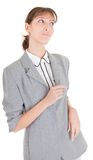 Requests listen. Woman in business clothing listen on white Royalty Free Stock Photo