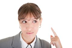Requests listen. Woman in business clothing listen on white Royalty Free Stock Image