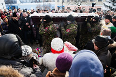Requiem on Euromaidan activist Michail Zhiznevsky Stock Images