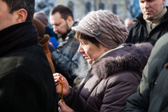 Requiem on Euromaidan activist Michail Zhiznevsky Stock Photos