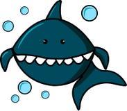 Requin bleu et bulles sur le fond blanc Personnage de dessin animé pour la copie sur des T-shirts, pulls molletonnés, T-shirts, c illustration libre de droits