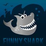 Requin drôle avec le surfer Images stock