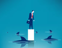 Requin entouré Illustration d'affaires de concept Dessin animé de vecteur Image libre de droits