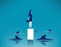Requin entouré Illustration d'affaires de concept Dessin animé de vecteur Photos libres de droits