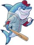 Requin moyen de base-ball de bande dessinée avec la batte et la boule illustration stock