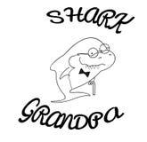 Requins de famille Requin de grand-papa avec la canne et le noeud papillon Contour mignon de bande dessinée des animaux de mer Co illustration libre de droits