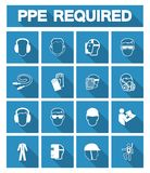 Required Personal Protective Equipment (PPE) Symbol,Safety Icon. Protection, helmet, work, health, construction, industry, worker, goggles, wear royalty free illustration
