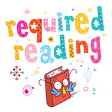 Required reading. Lettering with book mascot character Royalty Free Stock Photos