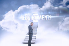 Requirements against open door at top of stairs in the sky Royalty Free Stock Images