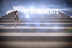 Requirements against steps against blue sky Royalty Free Stock Photography