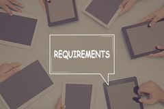 REQUIREMENTS CONCEPT Business Concept. Business text Concept royalty free stock photo
