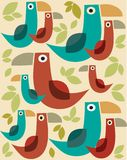 Rero cartoon birds pattern with leafs -2. Retro cartoon birds pattern,  illustration Royalty Free Stock Images
