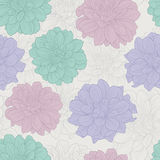 Rero seamless pattern with flowers Royalty Free Stock Photo