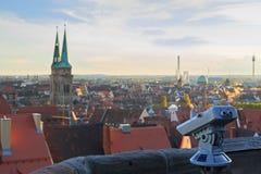 Resúmase en el castillo de Nuremberg, vista de la ciudad, imágenes de archivo libres de regalías