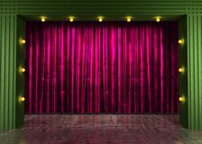 Res curtain stage with neon lights Royalty Free Stock Images
