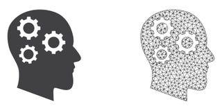 Res muerta Mesh Brain Gears del vector e icono plano libre illustration