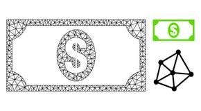 Res muerta Mesh Usd Banknote del vector e icono plano libre illustration