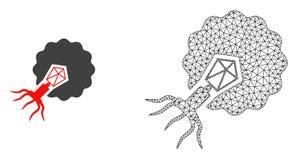 Res muerta Mesh Virus Infecting Cell del vector e icono plano libre illustration