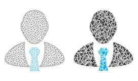 Res muerta poligonal Mesh Manager e icono del mosaico stock de ilustración