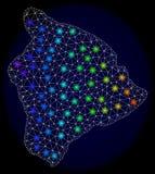 Res muerta poligonal Mesh Map de la isla grande de Hawaii con los puntos ligeros brillantes ilustración del vector