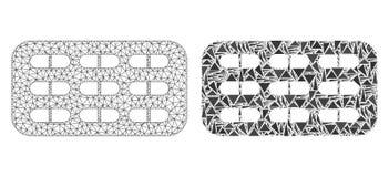 Res muerta poligonal Mesh Pill Blister e icono del mosaico ilustración del vector