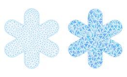 Res muerta poligonal Mesh Simple Snowflake e icono del mosaico ilustración del vector