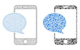 Res muerta poligonal Mesh Smartphone Message e icono del mosaico ilustración del vector