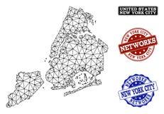 Res muerta poligonal Mesh Vector Map de los sellos del Grunge de New York City y de la red stock de ilustración