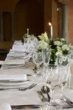 Res Table. A table decorated and set for a wedding reception Royalty Free Stock Photo