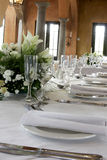 Res Table. A table decorated and set for a wedding reception Royalty Free Stock Photography