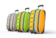 Resa bagageresväskor på vit bakgrund - sidosikt Royaltyfri Foto