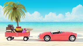 Resa begreppet, bil med bagage som är klart för sommarsemestern 3D, framför stock illustrationer
