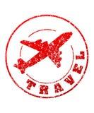 Resa den röda rubber stämpeln med flygplanet för din design royaltyfri illustrationer