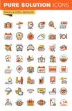 Resa den tunna linjen samling för symboler för lägenhetdesignrengöringsduk stock illustrationer