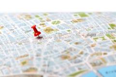 Resa destinationen kartlägger push klämmer fast Fotografering för Bildbyråer