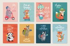 Resa djurkortuppsättningen, hand dragen stil, stock illustrationer