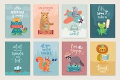 Resa djurkortuppsättningen, hand dragen stil, royaltyfri illustrationer