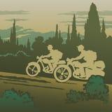 Resa för motorcyklister Arkivbilder