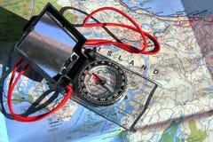 Resa - kompass och översikt Arkivfoto