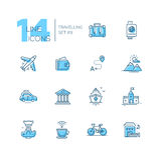 Resa - linje symbolsuppsättning royaltyfri illustrationer
