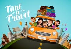 Resa loppbegrepp Lyckliga familjritter i bil på semester den främmande tecknad filmkatten flyr illustrationtakvektorn vektor illustrationer
