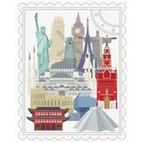 Resa och turism Arkitektoniska gränsmärken för värld vektor illustrationer