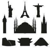 Resa och turism En uppsättning av symboler som visar världens arkitektoniska gränsmärken vektor royaltyfri illustrationer