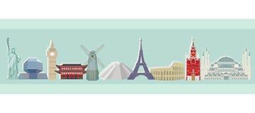Resa och turism Kulör vektorpanorama av arkitektoniska symboler för värld stock illustrationer