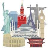 Resa och turism Kulöra vektorbilder av arkitektoniska symboler för värld vektor illustrationer