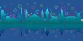 Resa och turism Vektorbakgrund med sikt och fyrverkerier för värld arkitektoniska royaltyfri illustrationer